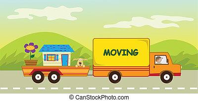 camión en movimiento, y, remolque