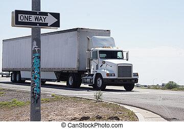 camión, entrar, carretera