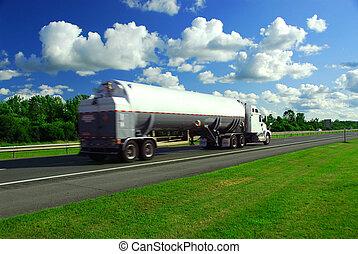 camión, gasolina, exceso de velocidad