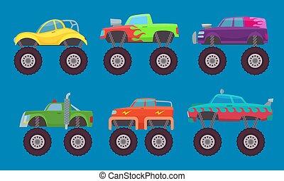 camión gigantesco, cars., automóviles, con, ruedas grandes, criatura, automóvil, juguete, para, niños, vector, cuadros, aislado