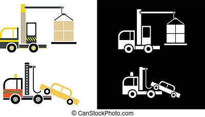 camión, grúa, y, grúa