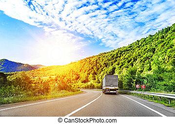 camión, highway.
