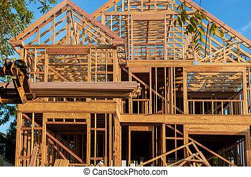 camión, levantado, braguero, ser, carretilla elevadora, auge, techo, hogar, nuevo, de madera