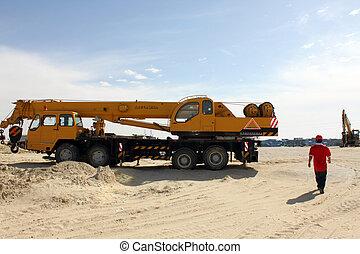 camión, levantamiento, auge