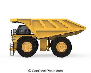 camión minero, aislado, amarillo