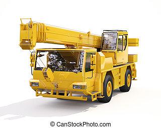 camión, montado, grúa