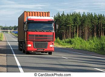 camión, ocaso, rojo