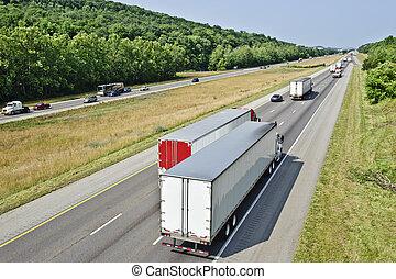 camión, ocupado, tráfico, interestatal