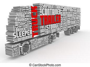 camión, palabras, frente, 3d, organización, remolque, vista