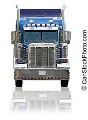camión, plano de fondo, aislado, semi, blanco