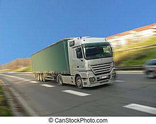 camión, plata, rápido, conducción