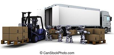 camión que maneja, robot, levantamiento