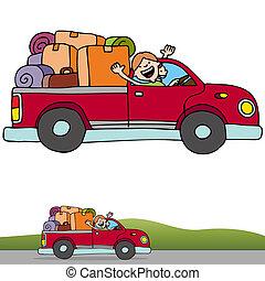 camión, recolección, bandera, viaje, camino