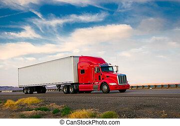 camión rojo, seguir adelante, un, carretera