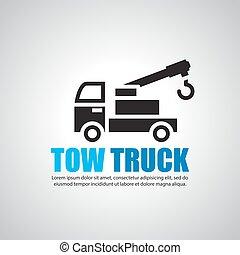 camión, símbolo, remolque