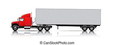 camión, semi-, remolque, rojo