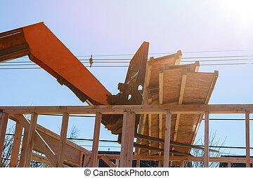 camión, ser, techo, auge, de madera, levantado, carretilla elevadora, braguero, nuevo hogar