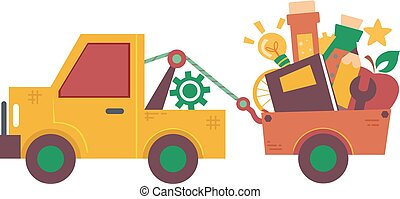 camión, tirón, educación, ilustración