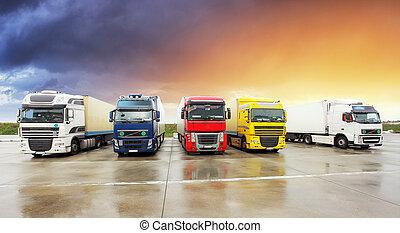 camión, transporte, carga