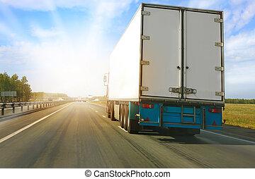 camión, va, carretera