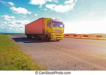 camión, va, en, el, carretera