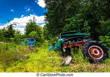 camión, viejo, furgoneta, junkyard