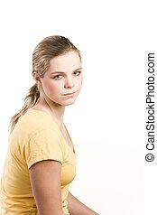 camicetta, adolescente, giallo, headshot, ritratto, ragazza