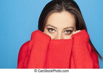 camicetta, blu, donna, sfondo rosso