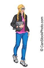 camicetta, giovane, biondo, il portare, orologio, blu, scarpe tennis, donna, grigio, presa a terra, giacca, jeans, laptop, nero, rosa, occhiali da sole