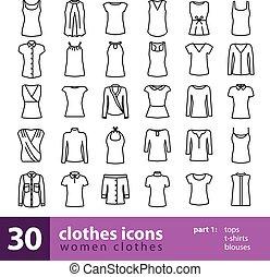 camicette, t-shirts, icone, -, cime, vestiti, donne