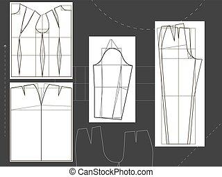 camicia, abbigliamento, s, disegno, gonna, pantaloni