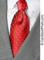 camicia bianca, cravatta rossa, rivestimento vestito