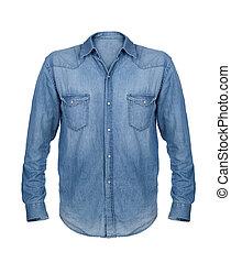 camicia blu, isolato, fondo, jean, bianco