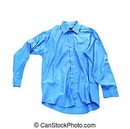 camicia blu, isolato, fondo, vuoto, bianco