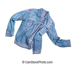 camicia blu, isolato, jean, maschio, bianco