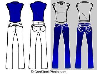 camicia blu, &, jeans