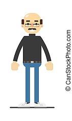 camicia, calvo, jeans, adulto, baffi, uomo