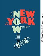 camicia, città, york, nuovo, tee, disegno, concetto