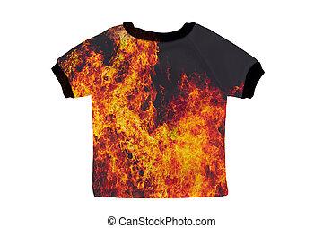 camicia, fuoco, isolato, fondo, piccolo, bianco