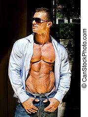 camicia, jeans, giovane, attraente, fuori, muscolo, aperto, uomo