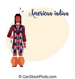 camicia, nazionale, vestiti, tradizionale, indiano americano...