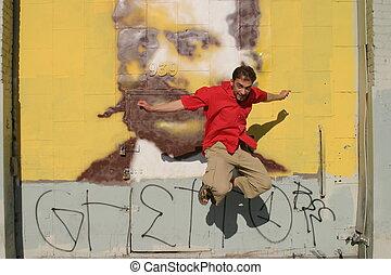camicia, parete, salti, giovane, graffito, fronte, rosso, uomo