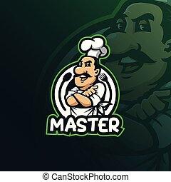 camicia, t, illustrazione, vettore, printing., mascotte, logotipo, moderno, chef, illustration., stile, disegno, sorriso, concetto, distintivo, emblema
