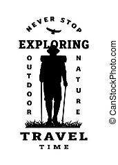 camicia, t, traveler., illustration., manifesto, disegno, quotes., silhouette, vettore