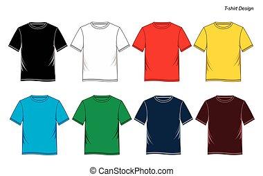 camicia t, varianti, templates., colorito