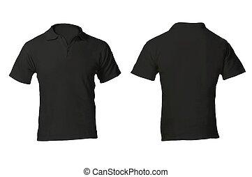 camicia, uomini, nero, sagoma, vuoto, polo