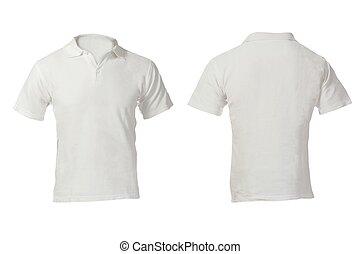 camicia, uomini, sagoma, vuoto, polo, bianco