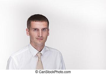 camicia, uomo affari, bianco