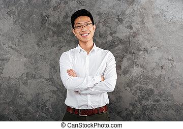 camicia, vestito, giovane, asiatico, ritratto, felice, uomo