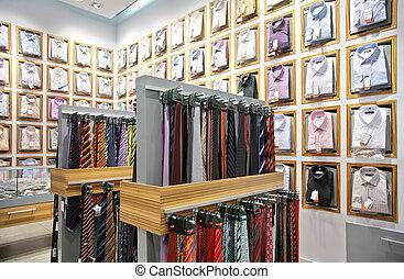 camicie, e, cravatte, in, negozio